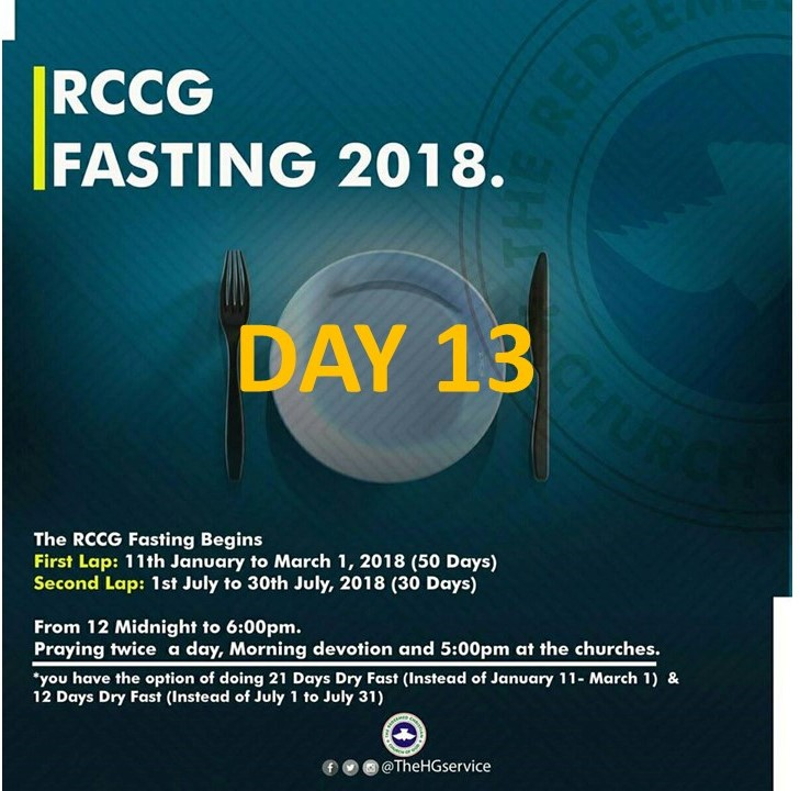 Day 13: RCCG 2018 fasting: (23rd January) Prayer Points