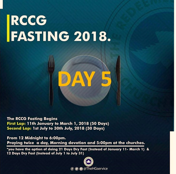 RCCG 2018 fasting : Day 5 Prayer Points