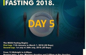 Day 5: RCCG 2018 fasting: (15th January) Prayer Points