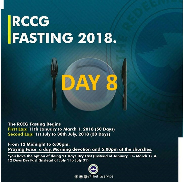 Day 8: RCCG 2018 fasting: (18th January) Prayer Points
