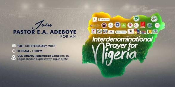 Interdenominational (RCCG) Prayer for Nigeria February 2018 by Pst. E.A Adeboye