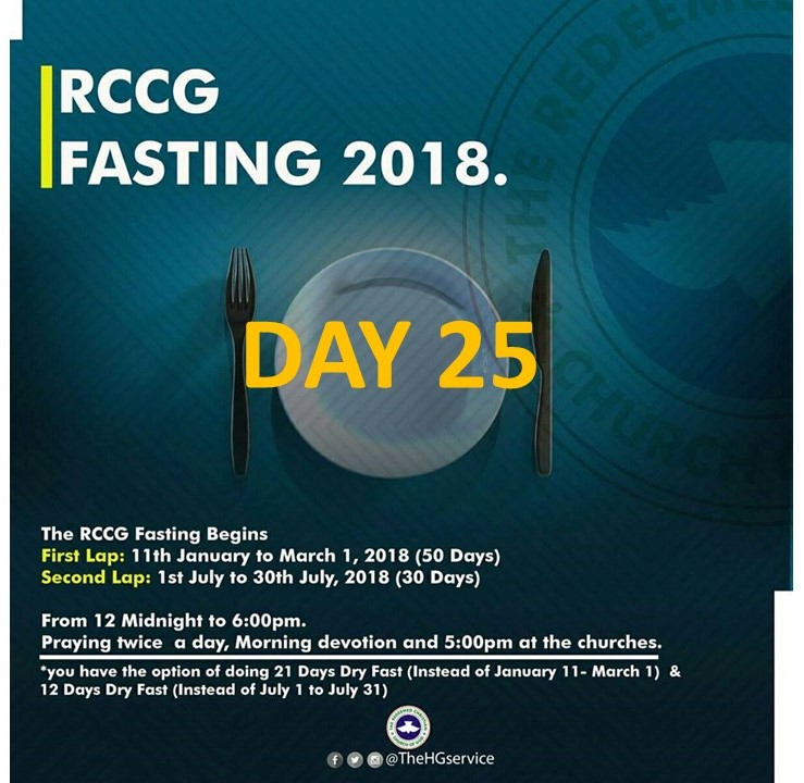 (RCCG) The Redeemed Christain Church of God RCCG 2018 Fasting & Prayer DAY 25