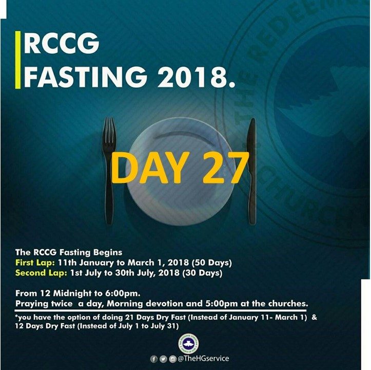 (RCCG) FASTING 2018 DAY 27 PRAYER POINTS
