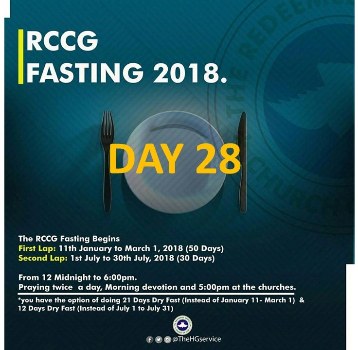 (RCCG) FASTING 2018 DAY 28 PRAYER POINTS