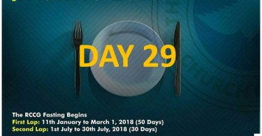 (RCCG) FASTING 2018 DAY 29 PRAYER POINTS