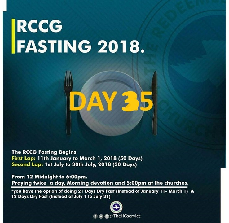 (RCCG) fasting 2018 prayer ponits for day 35