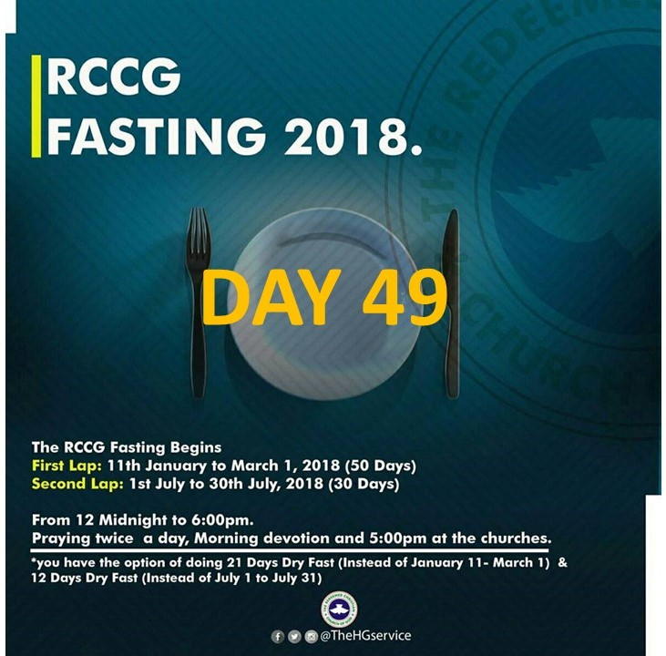 RCCG day 49 fasting and prayer points for 2018
