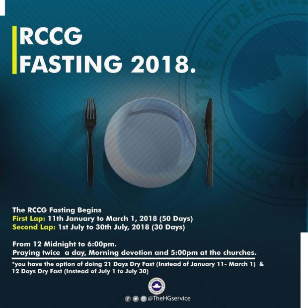 Redeemed Christian Church of God (RCCG) July 2018 Fasting