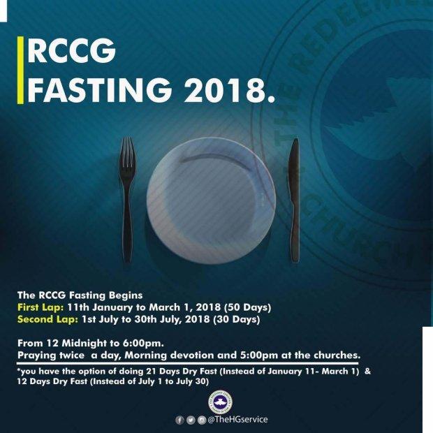 Redeemed Christian Church of God (RCCG) July 2018 Fasting