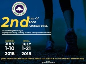 RCCG Day 5 JULY 2018, Fasting and Prayer Points