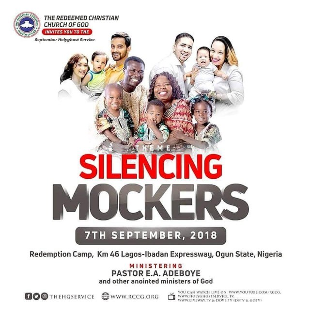 Watch RCCG September 2018 Holy Ghost Service LIVE