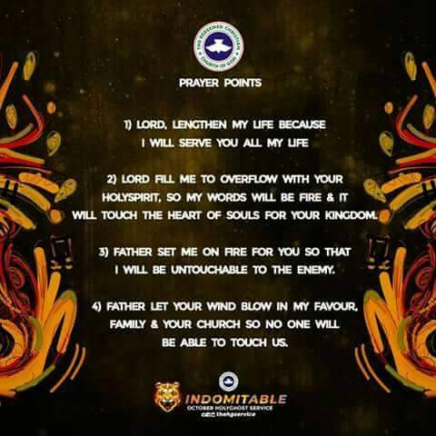 RCCG HOLY GHOST SERVICE OCTOBER 2018 PRAYER POINTS