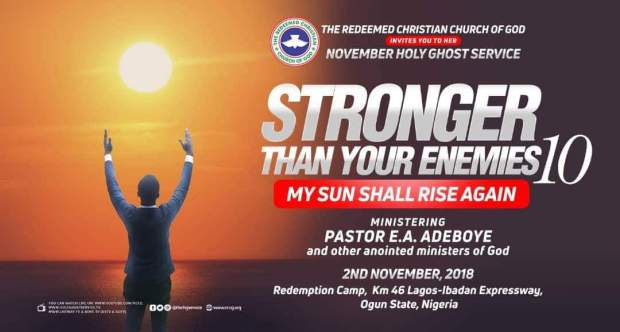 WATCH LIVE VIDEO RCCG Holy Ghost Service November 2018