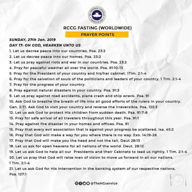 Day 17: RCCG 2019 Fasting Prayer Points – Sunday 27th Jan 2019