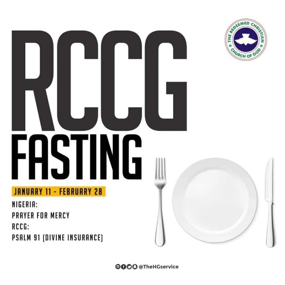 RCCG 2019 Fasting starts on Friday, January 11, 2019 and ends on Thursday, February 28, 2019.