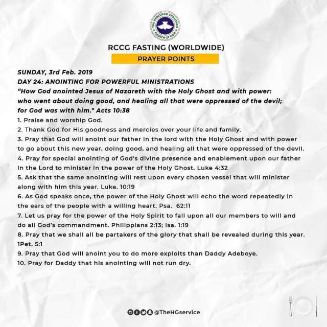 Day 24 RCCG Fasting And Prayer Points For Sunday 3rd February 2019.