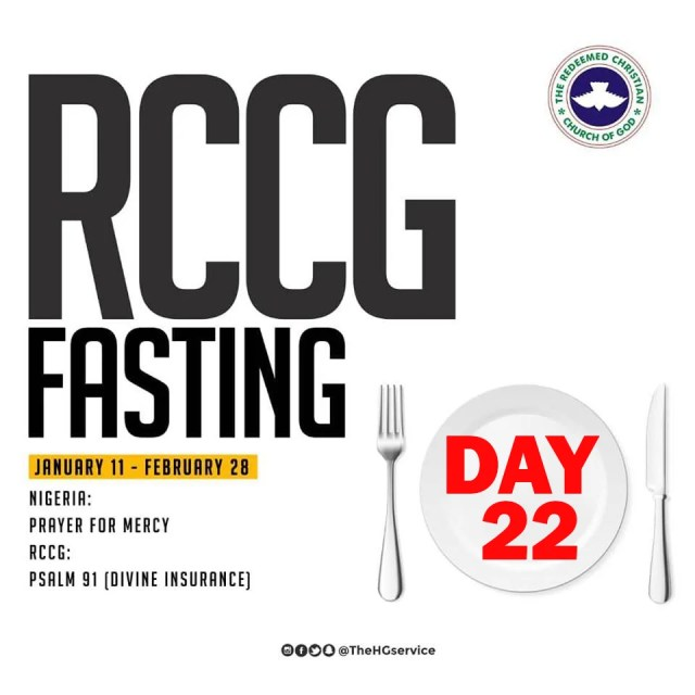 RCCG 2019 Fasting and Prayer Points for Today Day 22,  Friday 1st Of February.