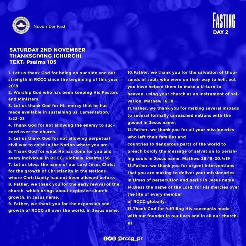 #RCCGFast #Day2 November 2nd 2019