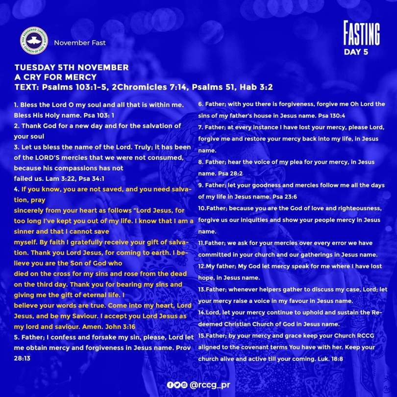 RCCG November 2019 Fasting Prayer Points Day 5 Tuesday, 5th