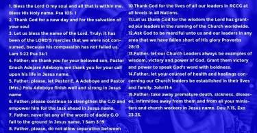 Day 10: RCCG November 2019 Fasting Prayer Points – Sunday, 10th