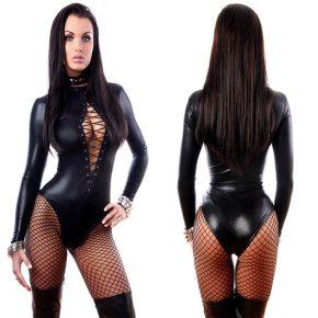 Black Vinyl Leather Lingerie Bodysuit