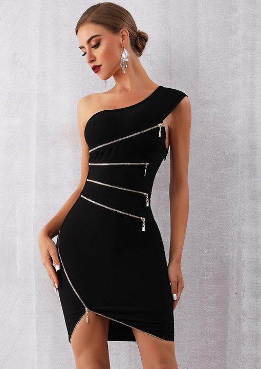 womens party dress in black with zippers