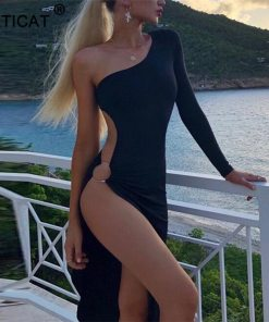 womens black slit party dress