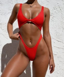 one piece swimsuit in red