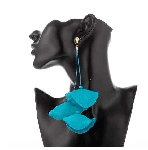 Turquoise Blue Drop Flower Fabric Earring