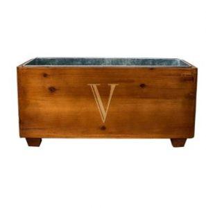 Monogram Wood Wine Trough, $119