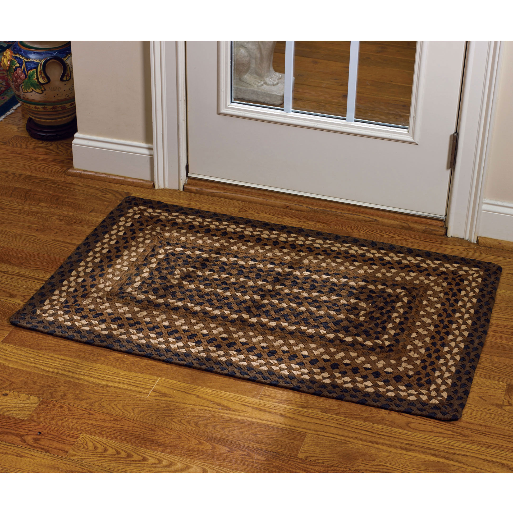 Pkd 384 434 Shades Of Brown Braided Rectangle Rug 27x45 Lrg