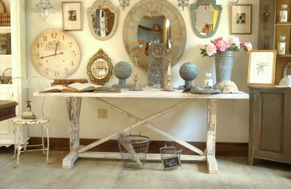 New Large White Distressed Farm Harvest Trestle Table