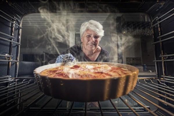 Women baking a pie