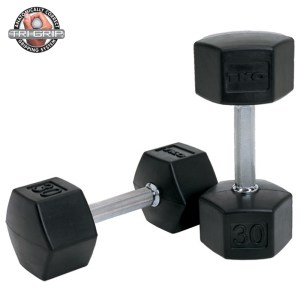 TKO Rubber Tri-Grip Hex Dumbbells