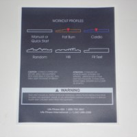 Life Fitness Workout Profiles Console Decal