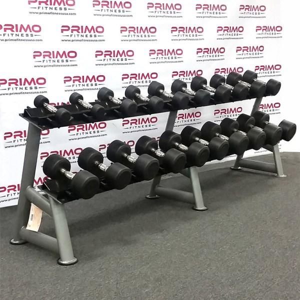 Hampton Dura-Pro Urethane Dumbbell Set - 5 lb. to 50 lb. on rack