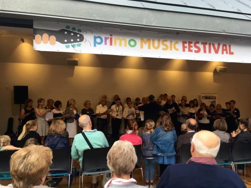 The Insole Court Community Choir performing at The Primo Music Festival 2017 at Insole Court