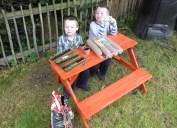 My boys potting up the lavender