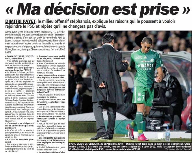 Pagina din LEquipe, în care Payet spunea că vrea la PSG. Sursă foto: lequipe.fr