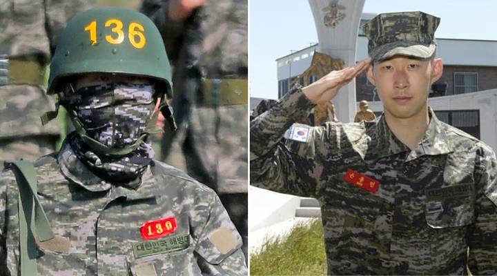 Heung Min Son în armată. Sursă foto: goal.com