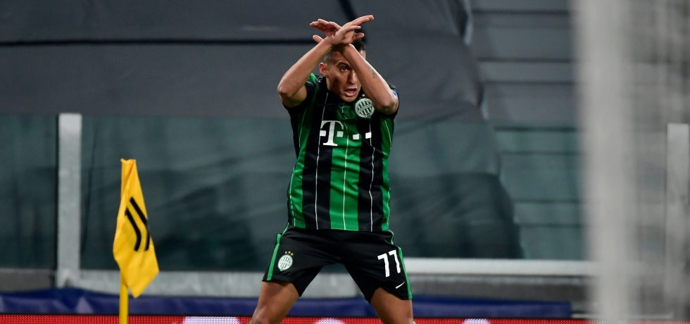 Reacția lui Cristiano Ronaldo după ce un jucător de la Ferencvaros s-a bucurat ca el. Sursă foto: goal.com