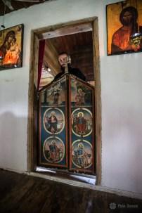 Imperial door in the wooden church of Crivina de Sus