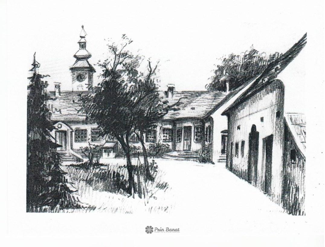 Ilustrată reprezentând conacul Damaszkin | Mučalov din Német (Beregsău Mic, județul Timiş, România)