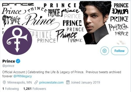 New Prince Social Media Account Launched 2/4/19