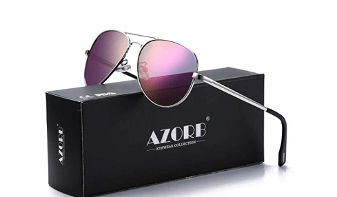 AZORB Polarized Aviator Sunglasses Mirrored Lens Metal Frame for Men Women, 100% UV 400 Protection