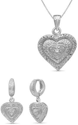 Great Valentine's Day Gift - White Diamond Accent Sterling Silver 2-Piece Heart Jewelry Set