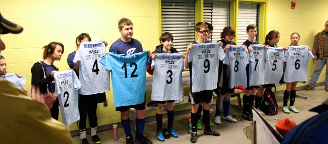 Members of the Blue Crush with their new jerseys. [John-Henry Doucette/Princess Anne Independent News]
