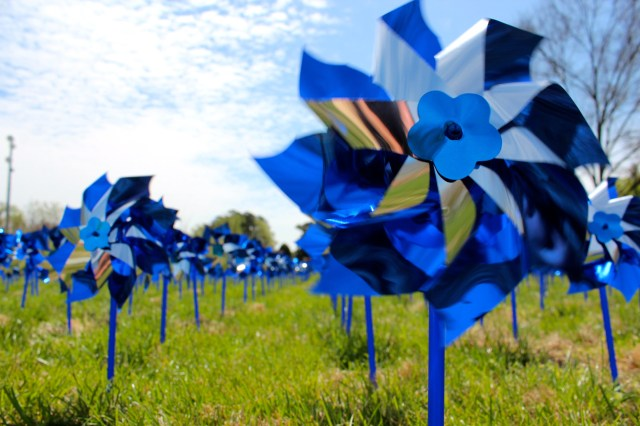 Pinwheels commemorating Child Abuse Prevention Month greet people passing Juvenile and Domestic Relations Court on Princess Anne Road on Thursday, April 16, 2015. [John-Henry Doucette/The Princess Anne Independent News]