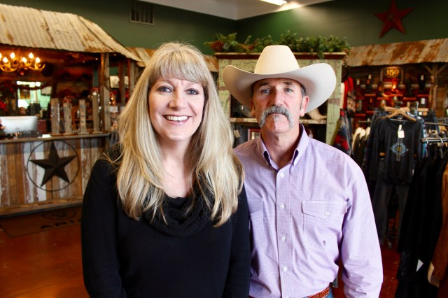 Kelley and Tom Moore, owners of Pungo Ridge at Creeds Marketplace in Creeds. [John-Henry Doucette/The Princess Anne Independent News]