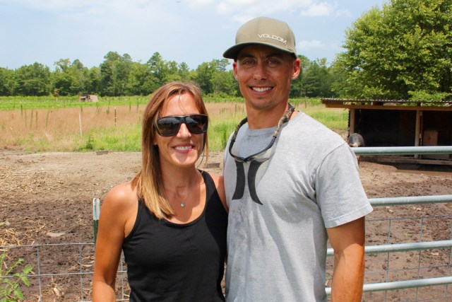 Janna and Derek Eason at Cartwright Family Farms in Pungo. [John-Henry Doucette/The Princess Anne Independent News]